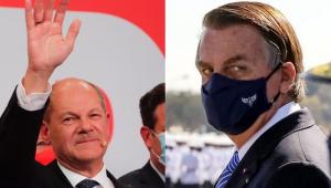 montagem com foto do candidato Olaf Scholz e do presidente Jair Bolsonaro