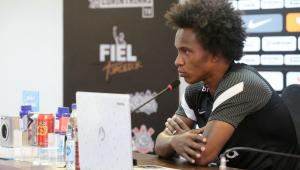 Willian em entrevista coletiva no Corinthians
