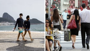 À esquerda, um casal andando de moletom, bermuda e chinelo no calçadão do Rio de Janeiro, com o Pão de Açúcar ao fundo; à direita, pessoas com roupas de grife na Oscar Freire, em São Paulo