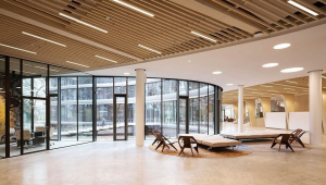 Interior do banco Triodo com um amplo espaço aberto, espreguiçadeiras e cadeiras, num ambiente de cores claras, que transmitem calma, e uma sala de reunião adjacente do lado esquerdo