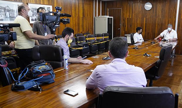 Coletiva de Imprensa do Presidente da Câmara Municipal de São Paulo, vereador Milton Leite (DEM)
