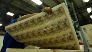 Trabalhador levanta folhas com cédula de R$ 50 na Casa da Moeda