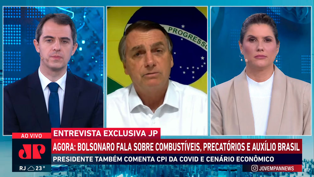 Imagem da transmissão televisa da entrevista do presidente Jair Bolsonaro ao Jornal da Manhã