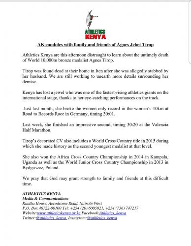 Comunicado da Federação de Atletismo do Quênia