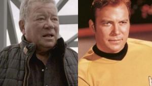 Montagem com foto de William Shatner atualmente e em Jornada nas Estrelas