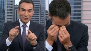 César Tralli é surpreendido em despedida do 'SP1' e chora ao vivo