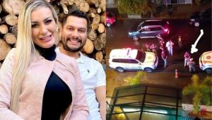 Montagem com fotos de Andressa Urach com o ex-marido e da polícia em frente a boate
