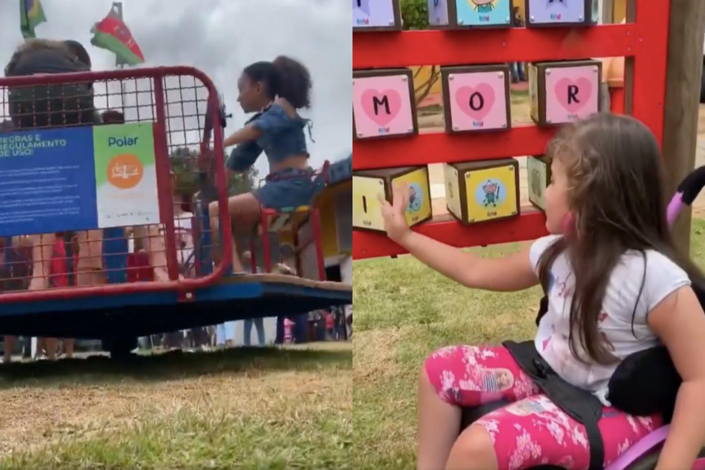 Crianças brincando em parque interativo em Ipatinga, Minas Gerais
