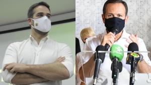 Montagem com fotos do governador do Rio Grande do Sul, Eduardo Leite, e do governador de São Paulo, João Doria