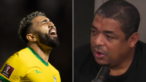 Gabigol ironiza Vampeta após fazer gol pela seleção contra a Venezuela: 'Pior pessoa'
