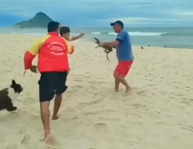 Homem usou um jacaré para se defender durante briga na Praia da Macumba, no Rio de Janeiro
