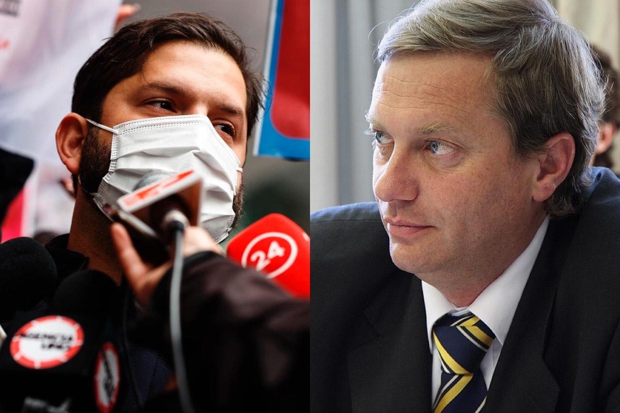montagem com candidato Gabriel Boric ao lado do candidato José Antonio Kast