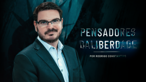 Banner com a foto de Rodrigo Constantino à esquerda, de paletó. camisa e óculos, com a seguinte mensagem ao lado: Pensadores da Liberdade (em cima) por Rodrigo Constantino (embaixo)