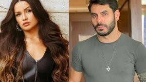 Montagem de fotos de Juliette com os cabelos longos e castanhos e blusa preta e Rodolffo de barba e camiseta cinza