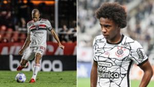 Miranda e Willian serão desfalques no clássico entre São Paulo e Corinthians