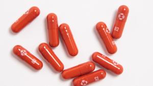 Cápsulas vermelhas do medicamento molnupiravir