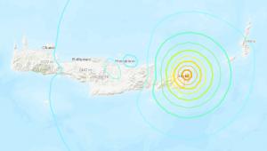 Imagem de mapa mostrando projeção de tremor em Creta