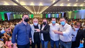 Rodrigo Pacheco, Ângelo Coronel, Eduardo Paes, Gilberto Kassab, Carlos Fávaro e Nelson Trad durante evento no Rio de Janeiro