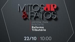 """Banner do programa """"Mitos & Fatos"""", com o logo em cinza e vermelha, um fundo cinza, e a data do programa: 22 de outubro, às 10h"""