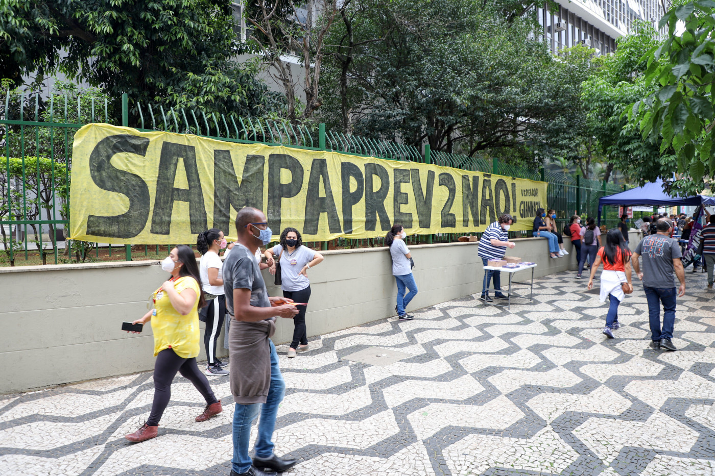 Servidores públicos municipais de São Paulo se manifestam contra a reforma da previdência municipal, denominada Sampaprev 2