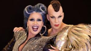 Xuxa e Ikaro Kadoshi montados como drag queens