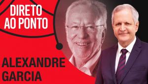 Montagem de fotos do logo do programa Direto ao Ponto, foto de Alexandre Garcia e de Augusto Nunes